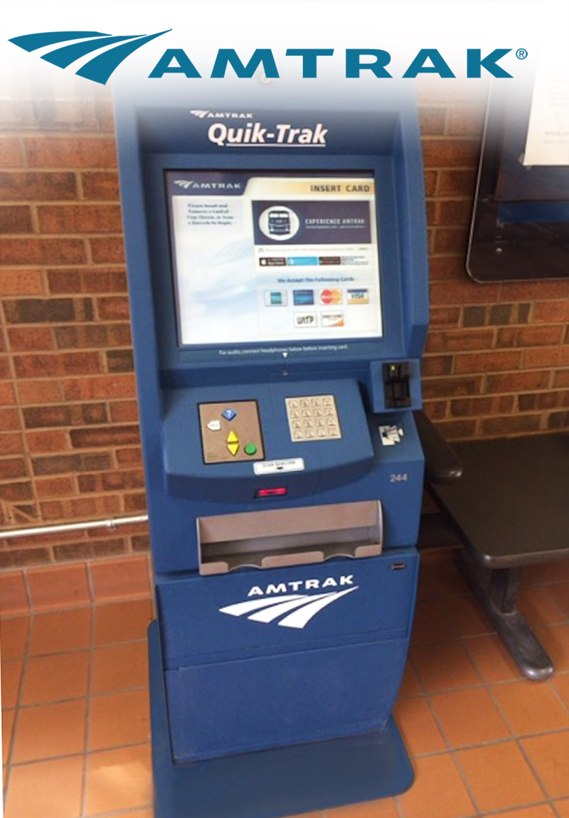 Amtrak self service ticketing kiosk with EZ Access technologies.